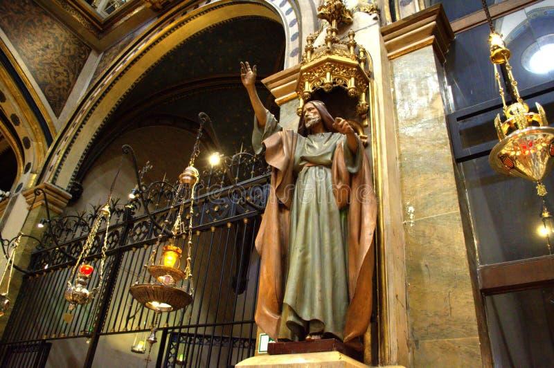 Beeldhouwwerk van predikende helderziende, Montserrat Basilica stock foto