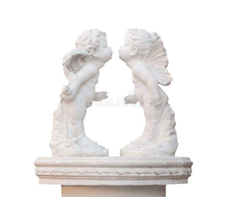 Beeldhouwwerk van witte het kussen twee engel royalty-vrije stock foto