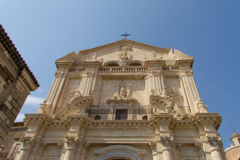Beeldhouwwerken en architectuur van Catanië Sicilië stock foto