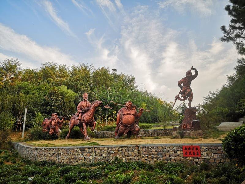 beeldhouwwerken van de vier goden van Tang Monk royalty-vrije stock afbeeldingen