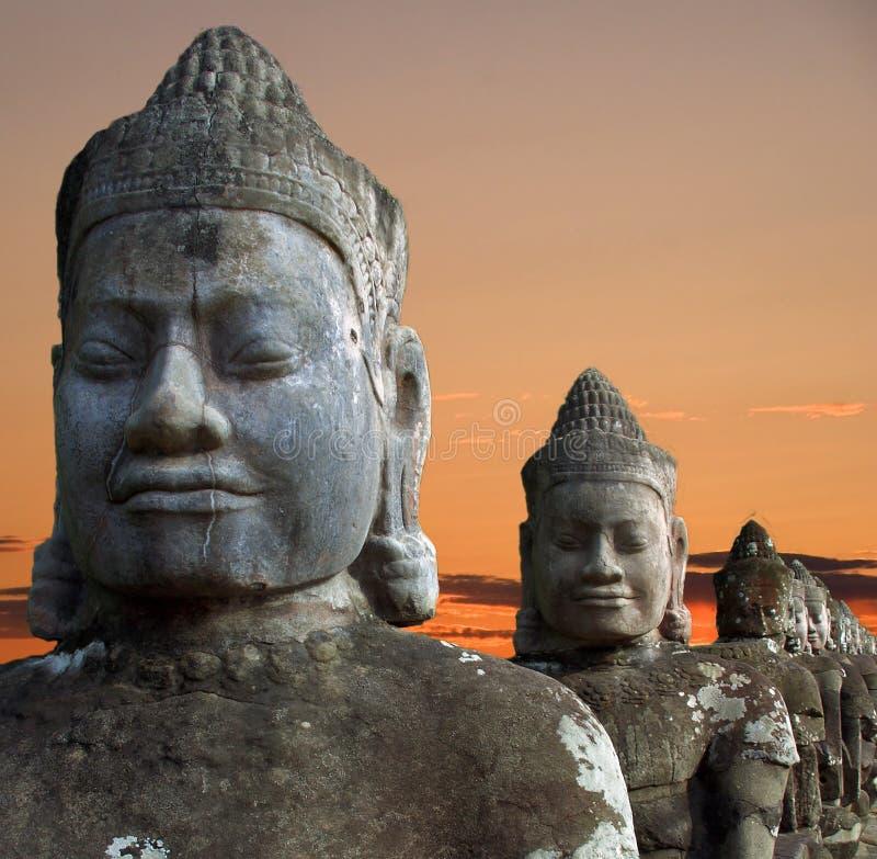Beeldhouwwerken van demonnen van Azië stock afbeelding