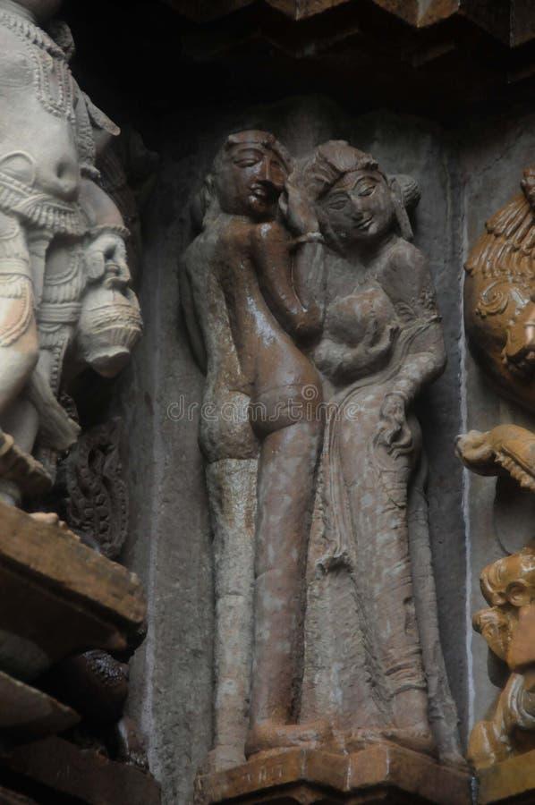 Beeldhouwwerken van Khajuraho, India royalty-vrije stock afbeelding