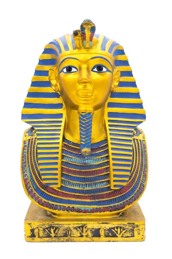 Beeldje van Egyptische pharaon op een zuivere witte achtergrond stock afbeelding
