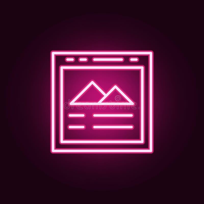 Beeldpictogram Elementen van Web in de pictogrammen van de neonstijl Eenvoudig pictogram voor websites, Webontwerp, mobiele toepa royalty-vrije illustratie
