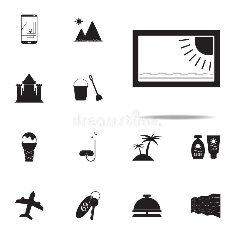 Beeldpictogram voor Web wordt geplaatst dat en mobiel de pictogrammenalgemeen begrip van het de zomergenoegen stock illustratie