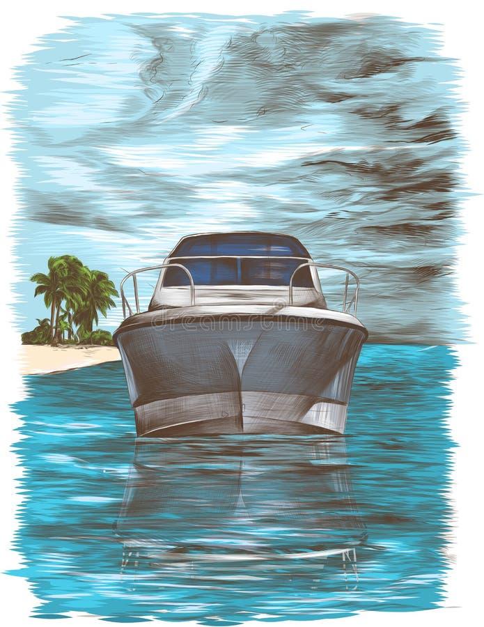 Beeldprentbriefkaar die een jacht drijvende neus vooruit op het water afschilderen tegen de hemel met wolken en een eiland royalty-vrije illustratie