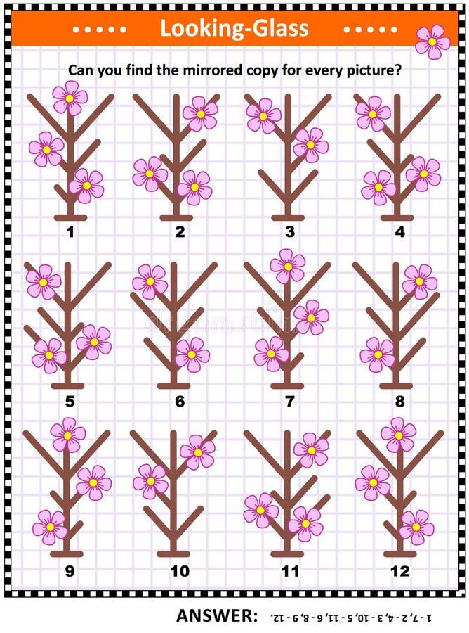 Beeldriddle met weerspiegelde beelden van eerste de lentebloemen royalty-vrije illustratie