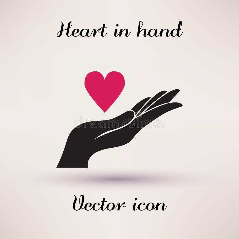 Beeldschriftteken van Malplaatje van het hart in hand Vectorpictogram royalty-vrije illustratie