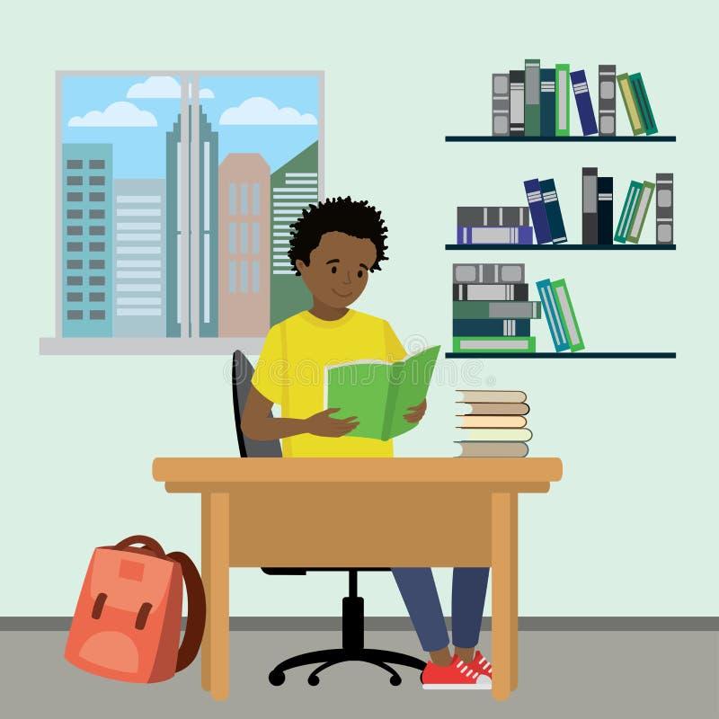 Beeldverhaal Afrikaans Amerikaans tiener gelezen boek, leerproces stock illustratie