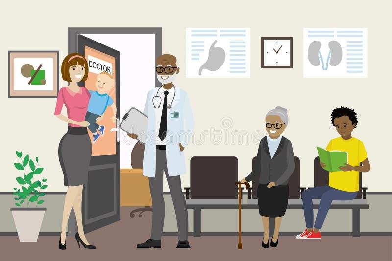 Beeldverhaal Afrikaanse Amerikaanse arts die aan een Kaukasisch wijfje spreken royalty-vrije illustratie