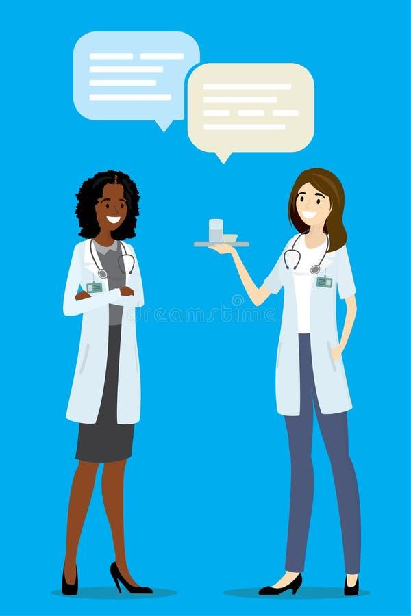 Beeldverhaal Afrikaanse Amerikaanse en Europese artsen of verpleegster die, s spreken royalty-vrije illustratie