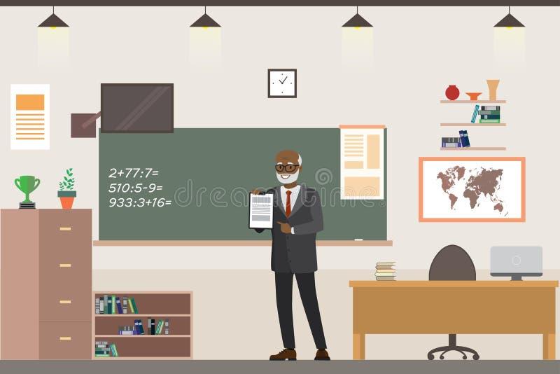 Beeldverhaal Afrikaanse Amerikaanse mannelijke leraar in interi van het schoolklaslokaal stock illustratie