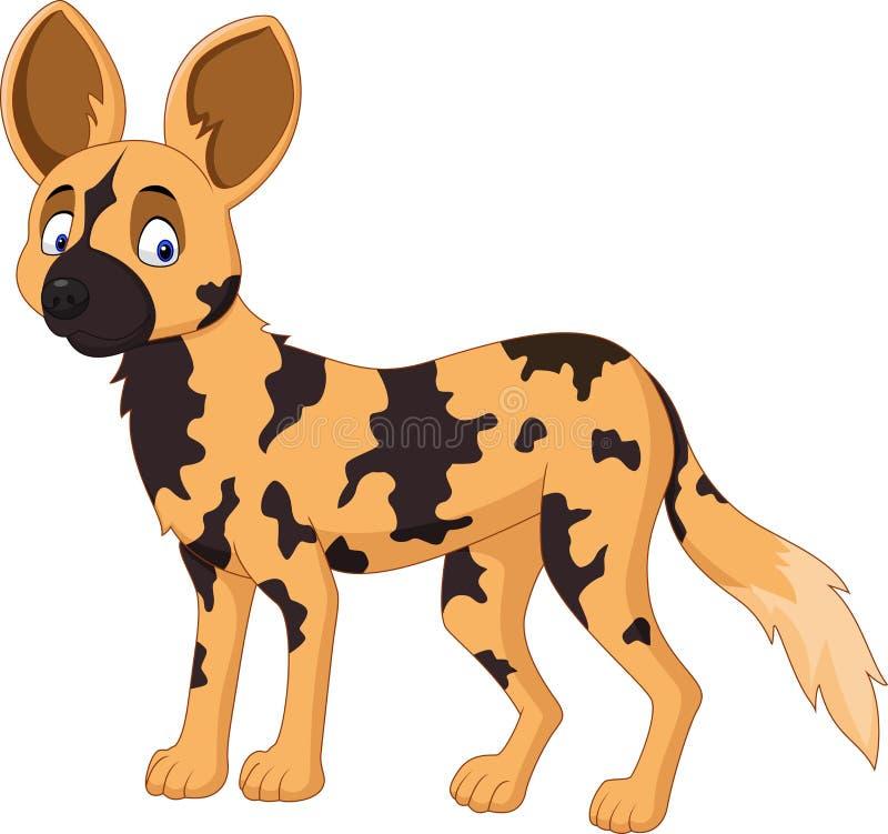 Beeldverhaal Afrikaanse wilde hond stock illustratie