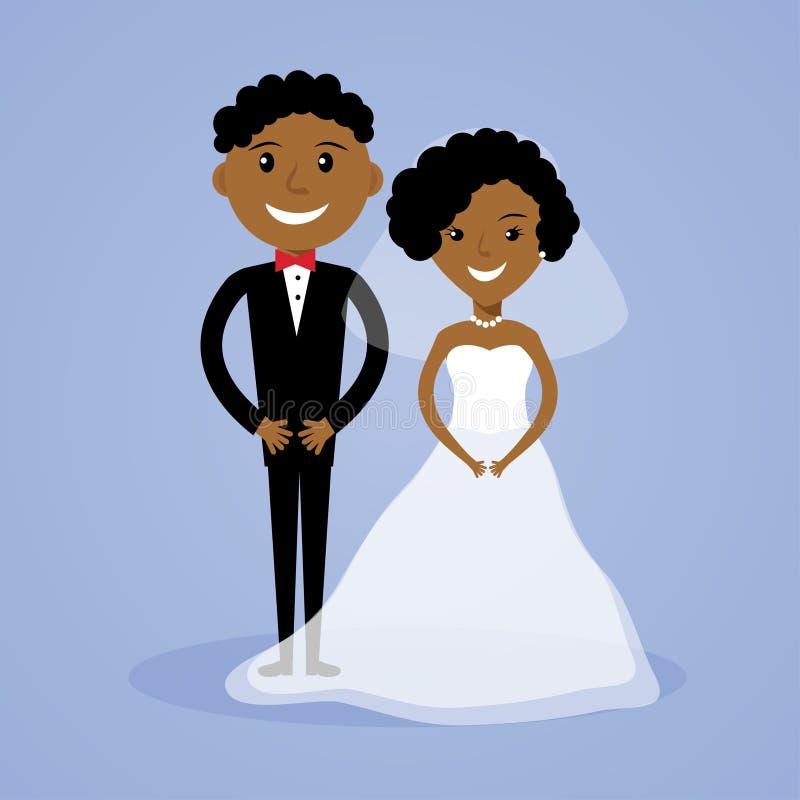 Beeldverhaal Afro-Amerikaanse bruid en bruidegom stock illustratie