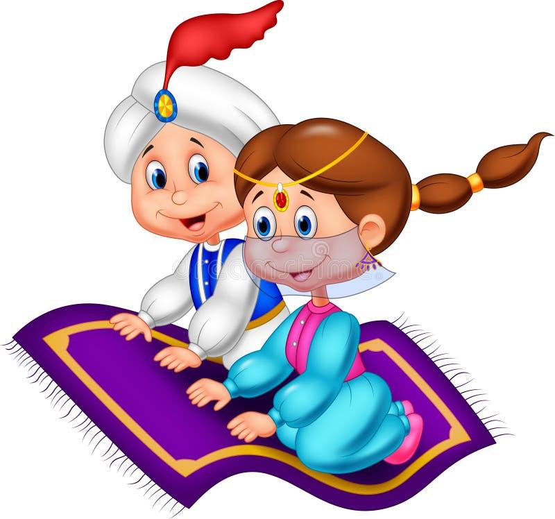 Beeldverhaal Aladdin en Jasmijn royalty-vrije illustratie