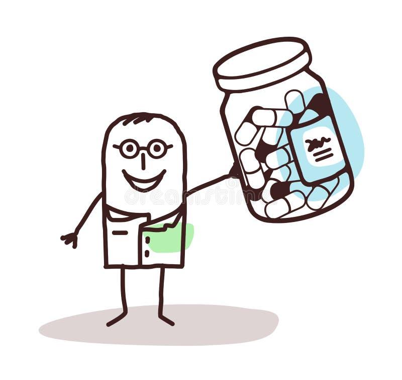 Beeldverhaal arts met fles van geneeskundecapsules vector illustratie