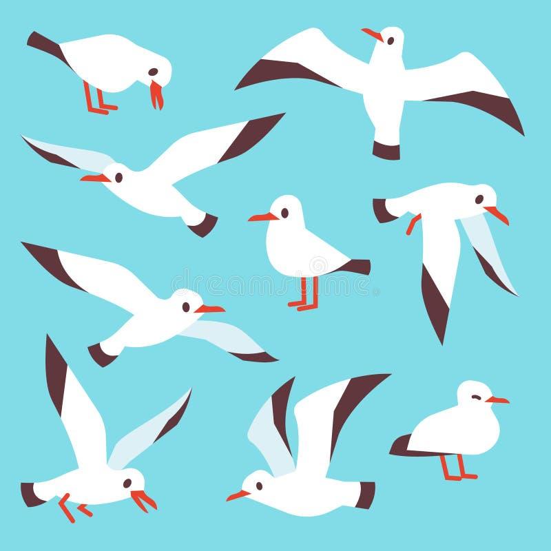 Beeldverhaal Atlantische zeevogel, zeemeeuwen die in blauwe hemel vectorreeks vliegen vector illustratie