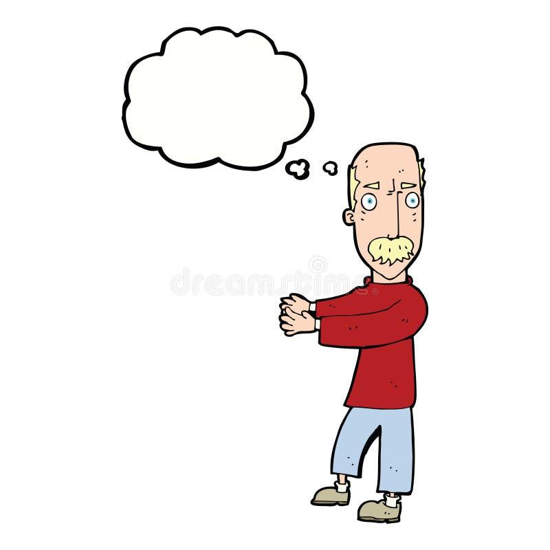 beeldverhaal balding mens die met gedachte bel verklaren vector illustratie