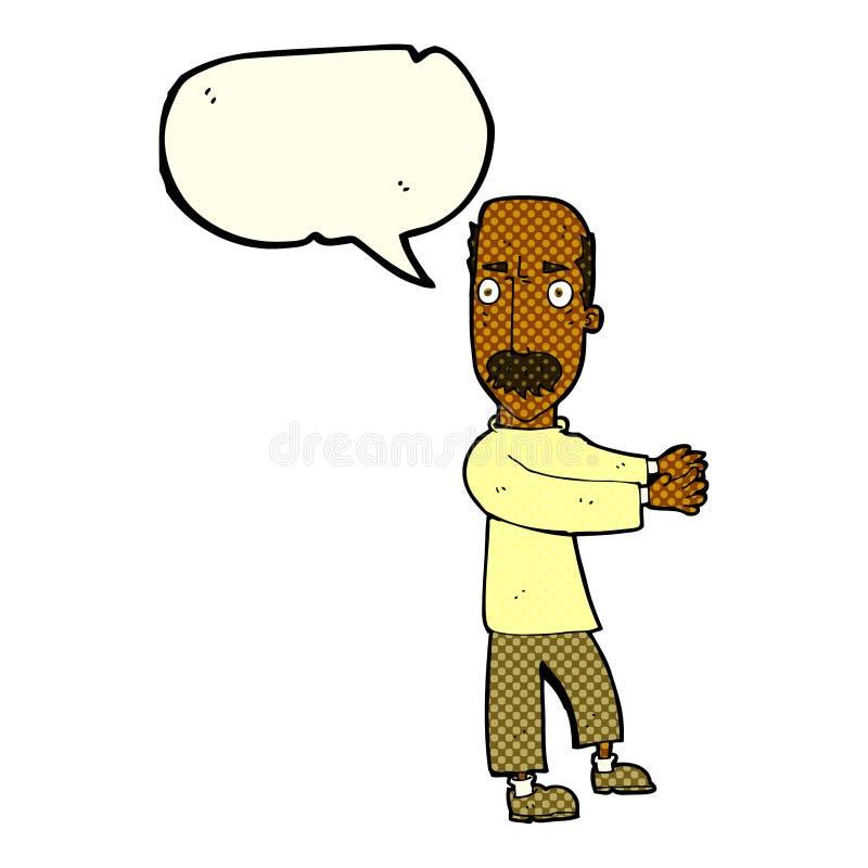 beeldverhaal balding mens die met toespraakbel verklaren stock illustratie