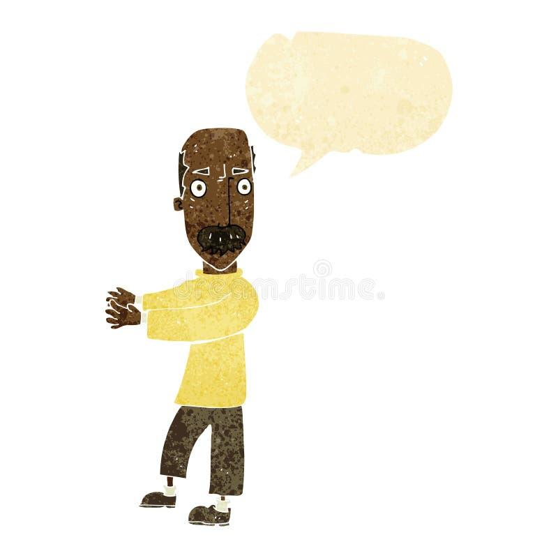 beeldverhaal balding mens die met toespraakbel verklaren royalty-vrije illustratie
