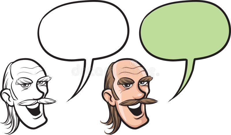 Beeldverhaal balding mens met snorrengezicht royalty-vrije illustratie
