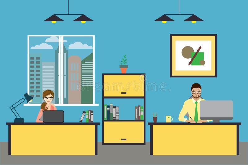 Beeldverhaal bedrijfsmensen thuis of modern bureau die werken royalty-vrije illustratie