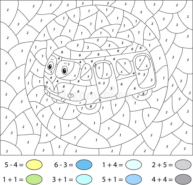 Beeldverhaal blauwe bus Kleur door aantal onderwijsspel voor jonge geitjes vector illustratie