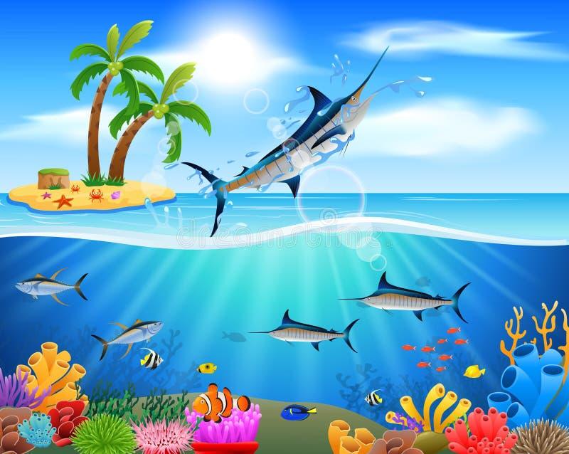 Beeldverhaal blauwe marlijn die in blauwe oceaan springen stock illustratie
