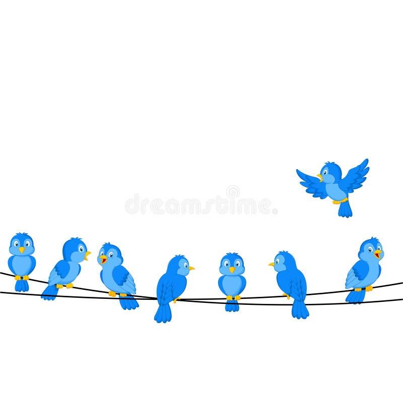 Beeldverhaal blauwe vogel op draad royalty-vrije illustratie