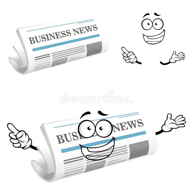 Beeldverhaal blij bedrijfskrantenkarakter stock illustratie