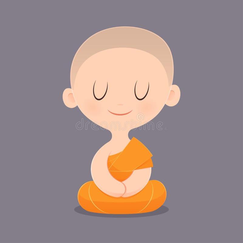 Beeldverhaal Boeddhistische Monnik stock illustratie