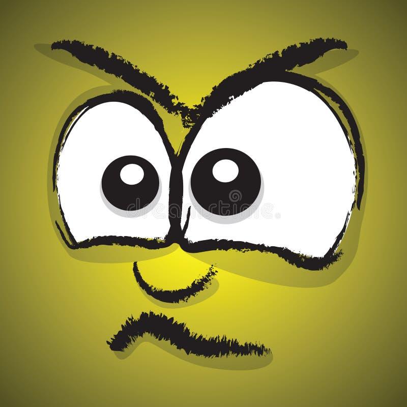 Beeldverhaal boos gezicht vector illustratie