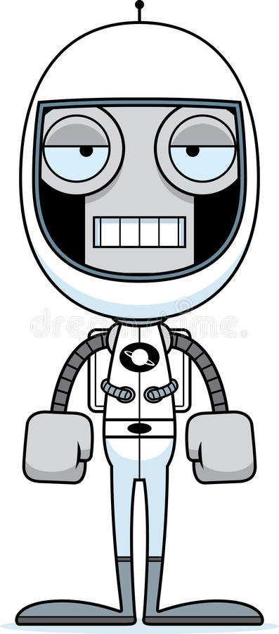 Beeldverhaal Bored Astronaut Robot stock illustratie