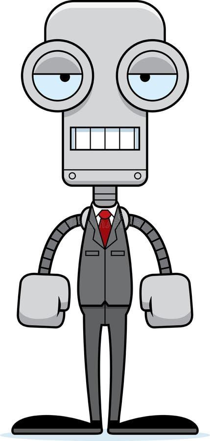 Beeldverhaal Bored Businessperson Robot stock illustratie