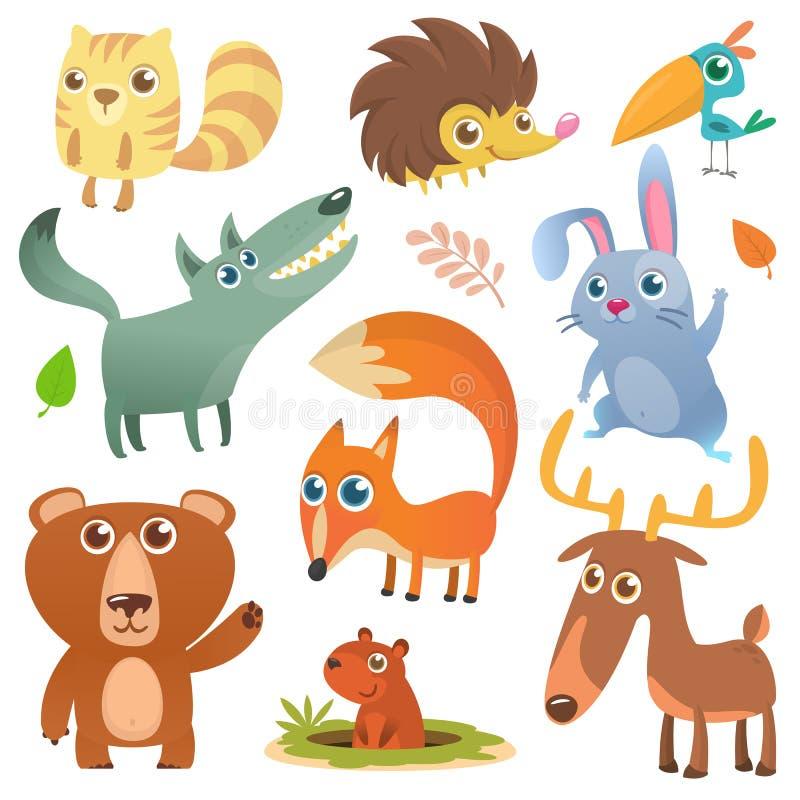 Beeldverhaal bos dierlijke karakters Wilde geplaatste beeldverhaal leuke dieren stock illustratie