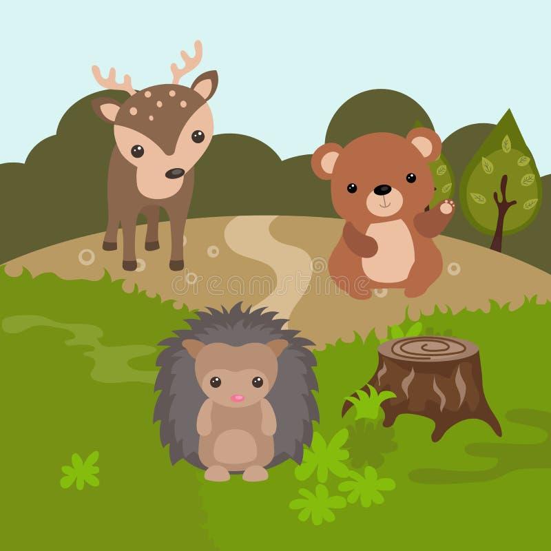Beeldverhaal boslandschap stock illustratie