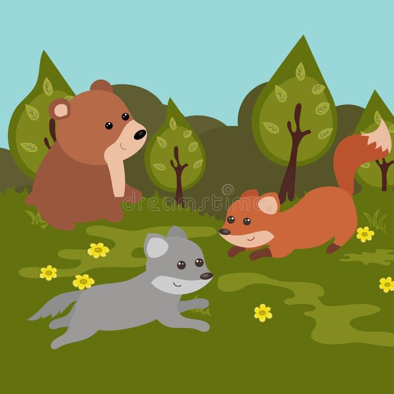 Beeldverhaal boslandschap vector illustratie