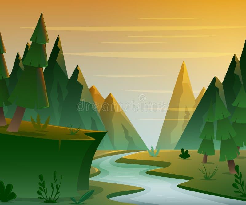 Beeldverhaal boslandschap met bergen, rivier en sparren Zonsondergang of zonsopganglandschapsachtergrond stock illustratie