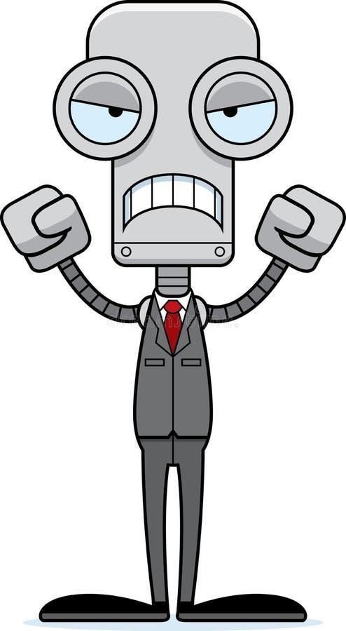 Beeldverhaal Boze Businessperson Robot royalty-vrije illustratie