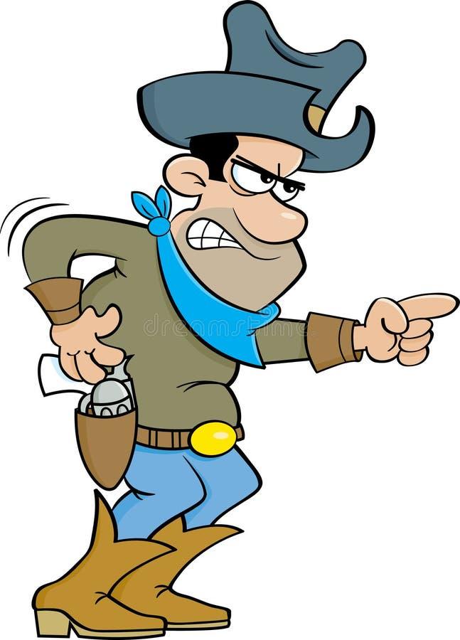 Beeldverhaal boze cowboy stock illustratie