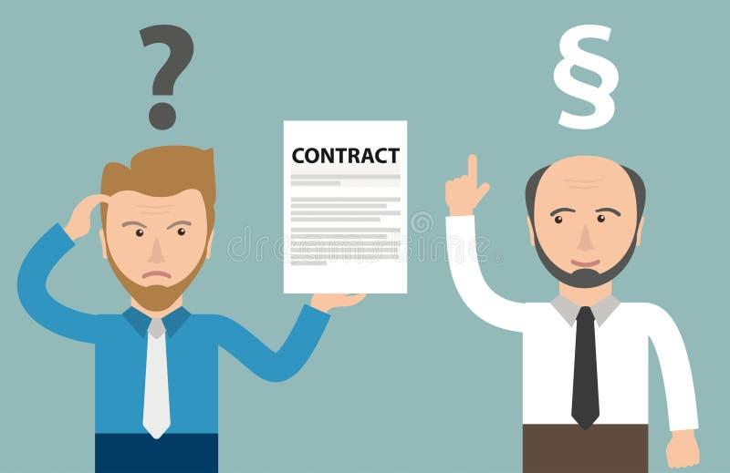 Beeldverhaal Boze Zakenman Contract Jurist stock illustratie