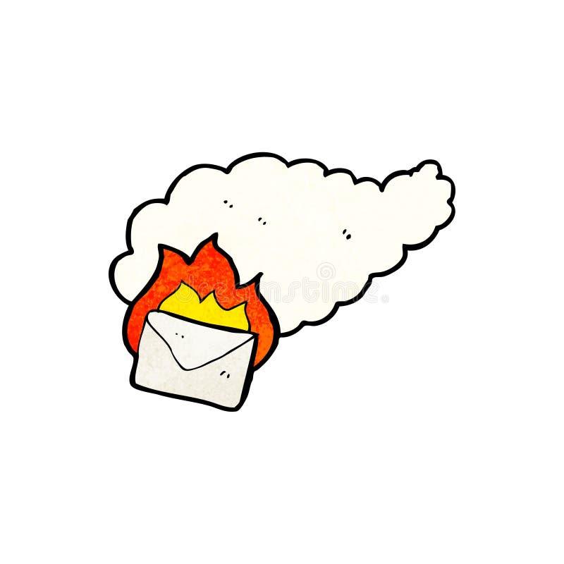 beeldverhaal brandende brief stock illustratie