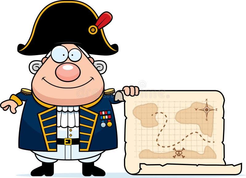 Beeldverhaal Britse Admiraal Treasure Map royalty-vrije illustratie