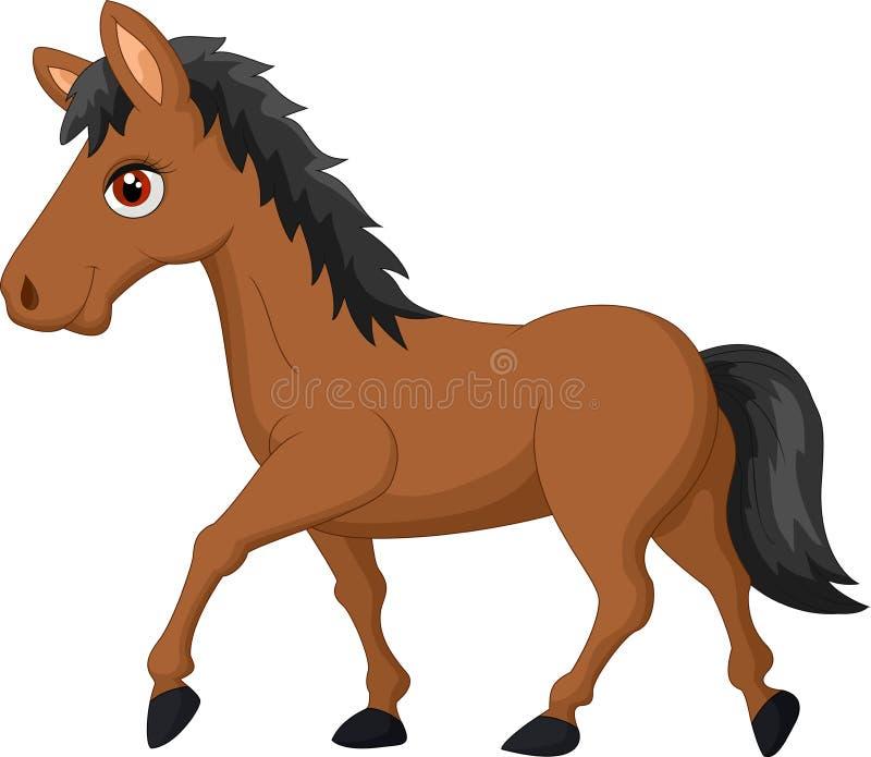 Beeldverhaal bruin paard stock illustratie