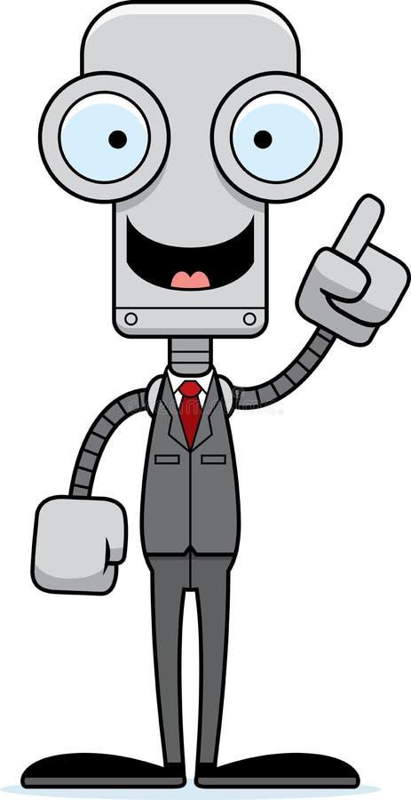 Beeldverhaal Businessperson Robot Idea vector illustratie