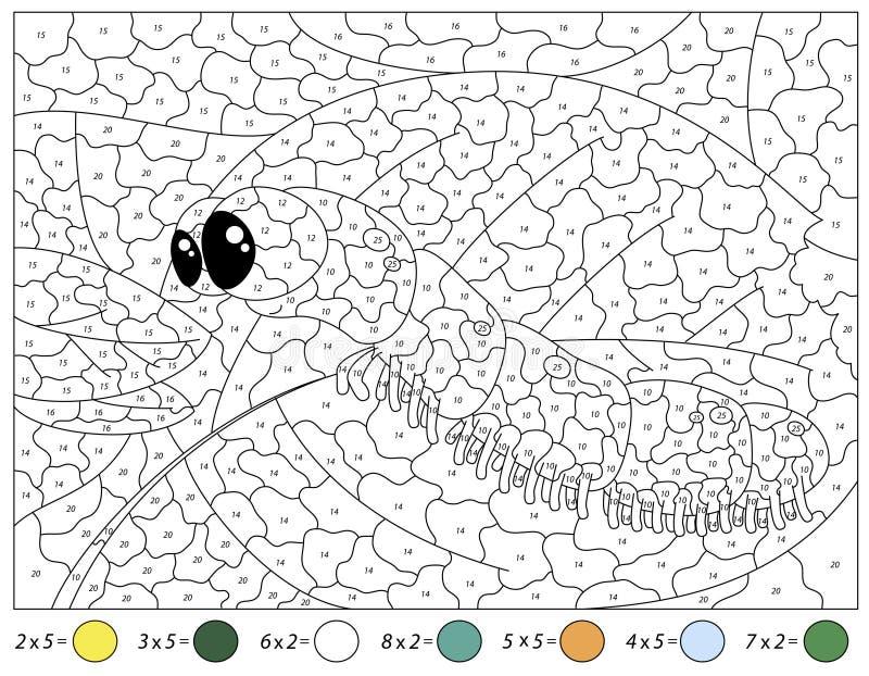 Beeldverhaal Caterpillar Het aantekenvel van de wiskundeactiviteit Tafel van vermenigvuldiging Kleur door aantal onderwijsspel royalty-vrije illustratie
