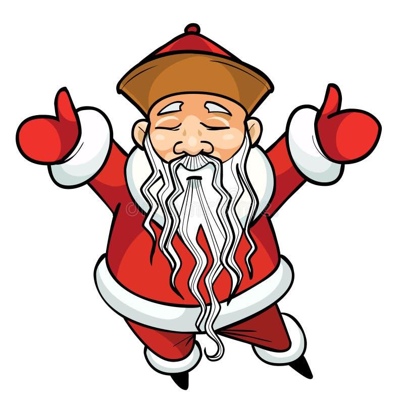 Beeldverhaal Chinese Santa Claus die zich met zijn opgeheven wapens bevinden stock foto's