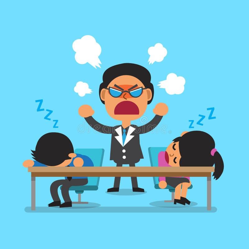 Beeldverhaal commerciële teamslaap en boze werkgever royalty-vrije illustratie