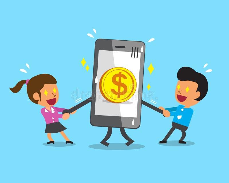 Beeldverhaal commercieel team die smartphone met groot muntstukpictogram trekken vector illustratie