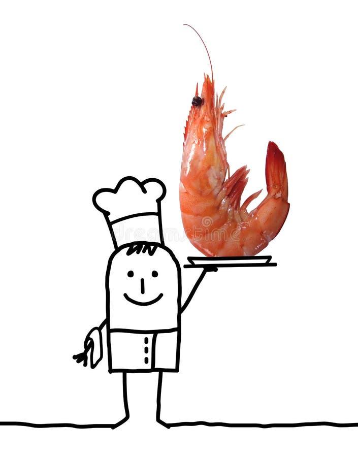 Beeldverhaal Cook Chef met grote Roze Garnalen in een Dienblad stock illustratie
